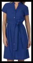 Blue Button Front Eyelet Dress